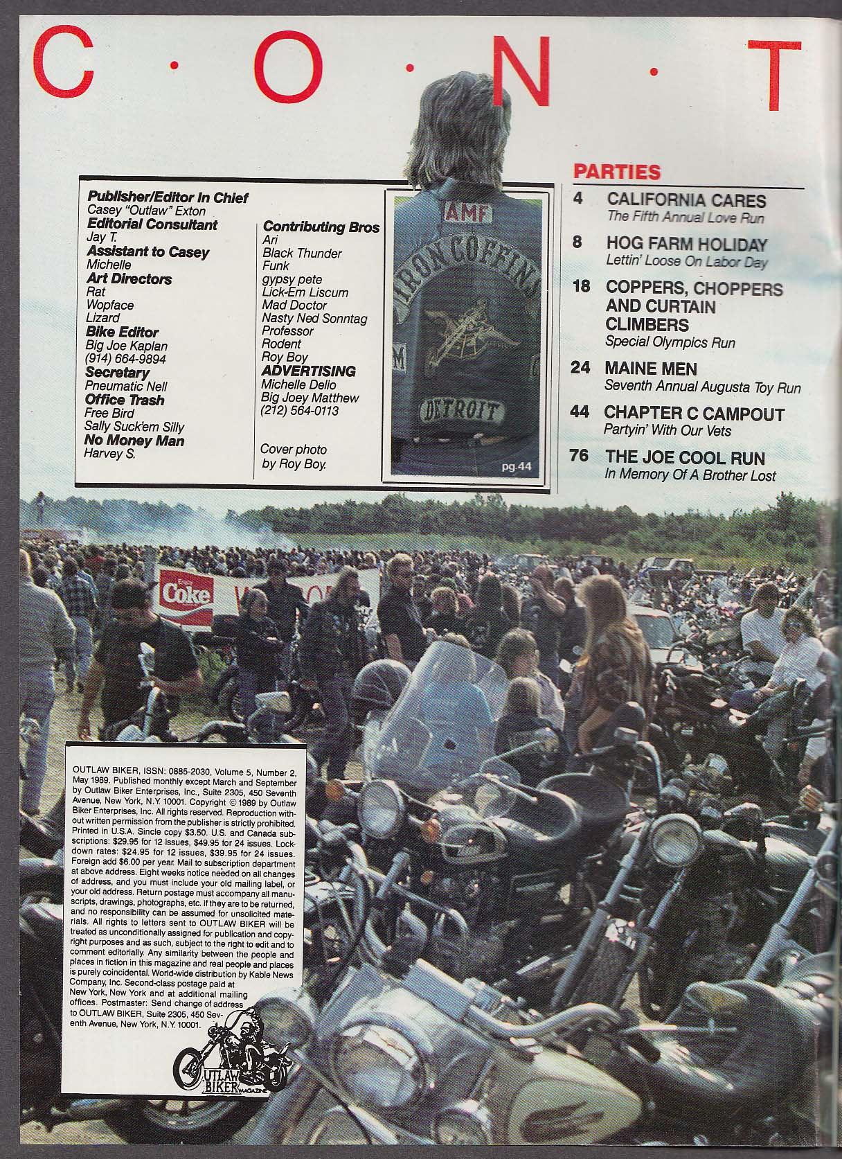 OUTLAW BIKER Special Olympics Hog Farm Holiday ++ 5 1989