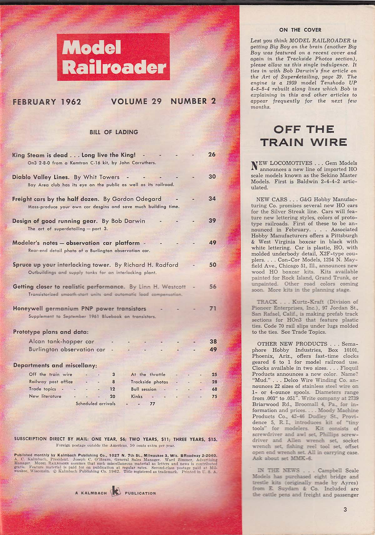 MODEL RAILROADER Superdetailing Steam Locomotives; Diablo Valley Lines ++ 2 1962