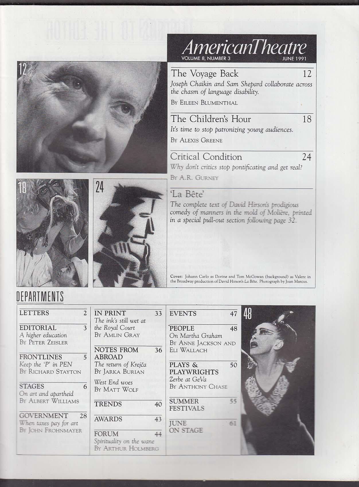 AMERICAN THEATRE Johann Carlo Tom McGowan A R Gurney Sam Shepard ++ 6 1991