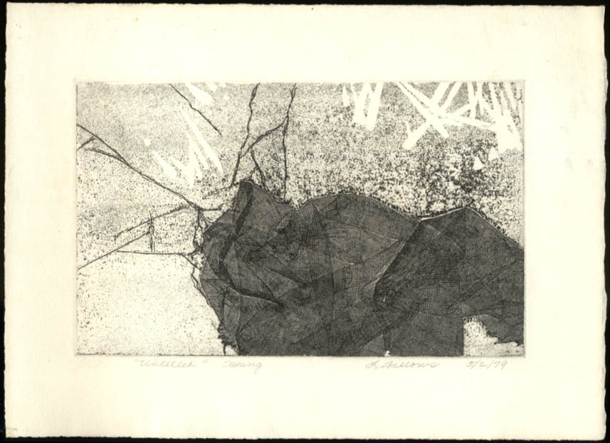 Untitled abstract etching by L Fellows 1979 SIGNED