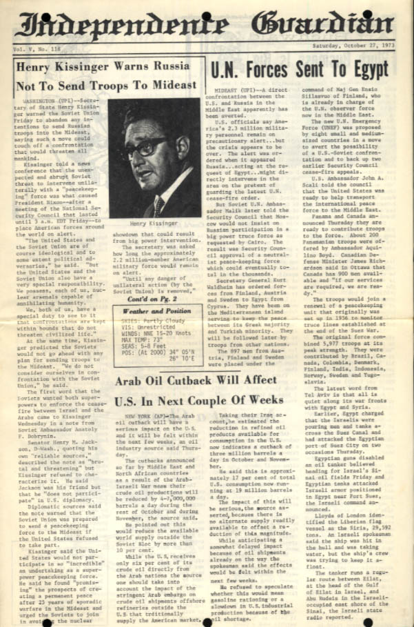 USS Independence Guardian 10/27 1973 Kissinger warns USSR; UN to Egypt