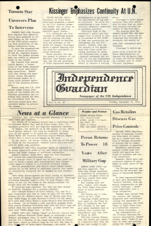 USS Independence Guardian 9/25 1973 Namath out? Kissinger; Gas Prices