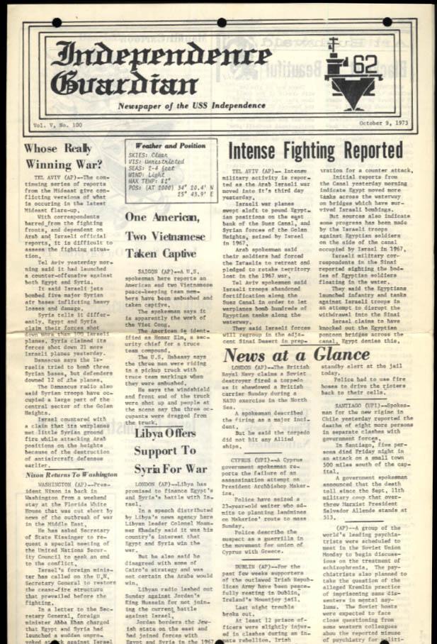USS Independence Guardian 10/9 1973 Arab-Israeli War; Soviets rescue Ens Long