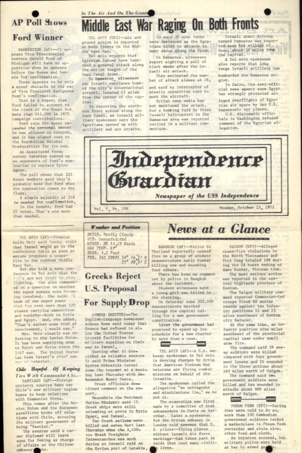 USS Independence Guardian 10/15 1973 Arab-Israeli War; Watergate; Ford for VP