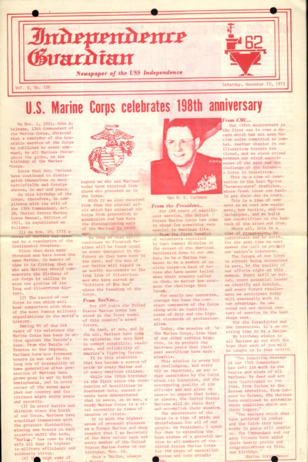 USS Independence Guardian 11/10 1972 USMC is 198; Gen Cushman; Mideast Peace