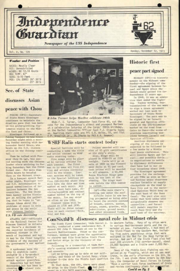 USS Independence Guardian 11/12 1973 Mideast Peace; Vadm Murphy 6th Fleet tops
