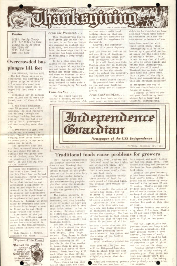USS Independence Guardian 11/22 1973 Nixon & brass Thanksgiving messages