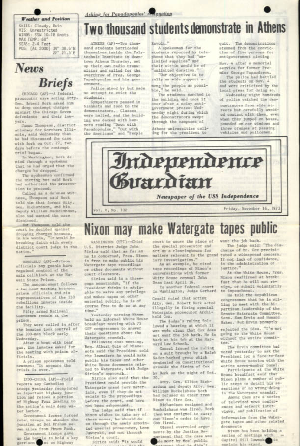 USS Independence Guardian 11/16 1973 Watergate; Greek riots; Revival Meet aboard