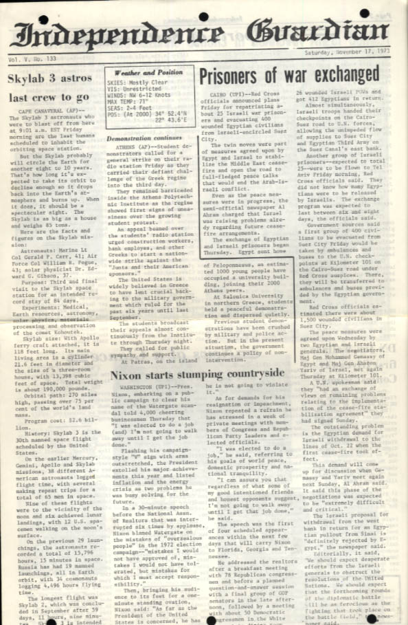 USS Independence Guardian 11/17 1973 Skylab Watergate Mideast POW Suzanne Simons