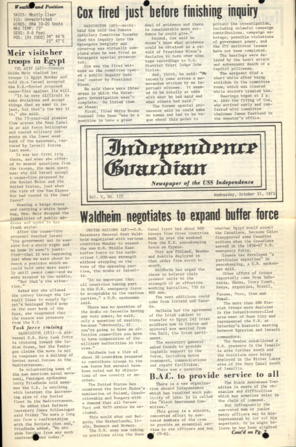 USS Independence Guardian 10/31 1973 Watergate; Meir; Black Awareness Committee