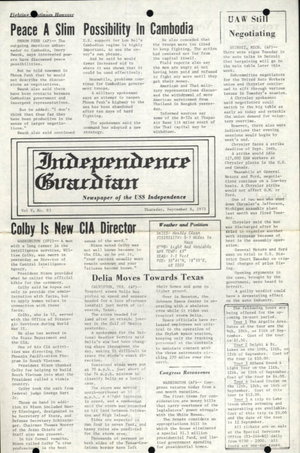 USS Independence Guardian 9/6 1973 Colby to CIA; Cambodia Peace doubted