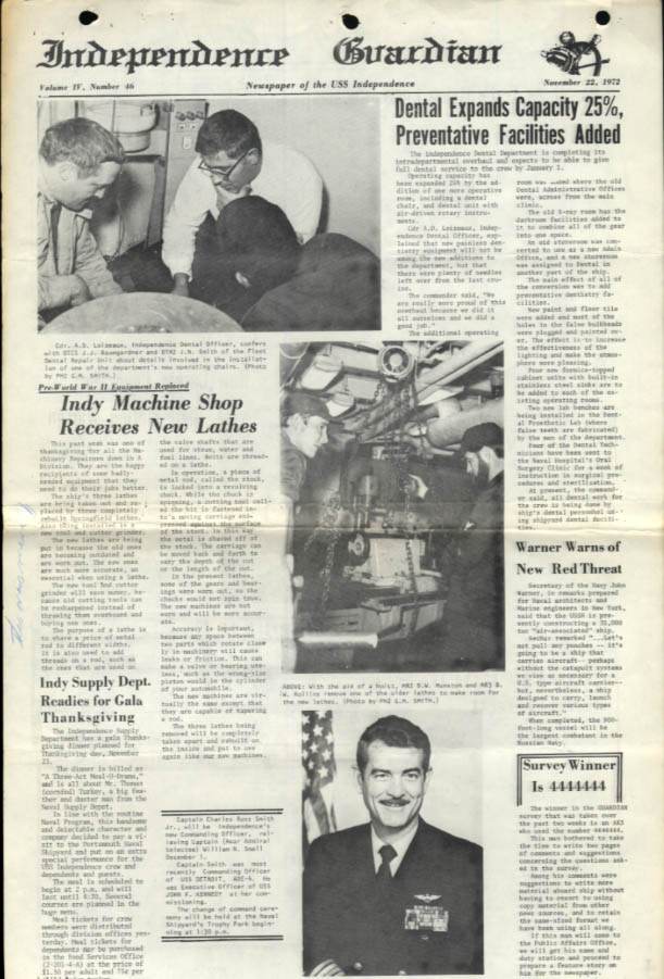 USS Independence Guardian 11/22 1972 Smith to be CO; BMC Marion Warren