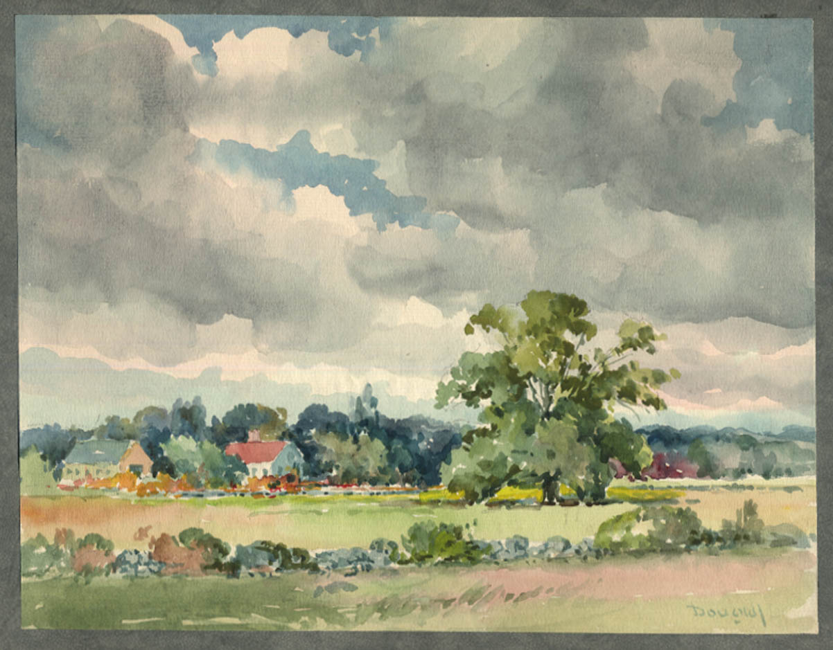 Image for Arthur S Douglas original watercolor Farm across the meadow ca 1930s