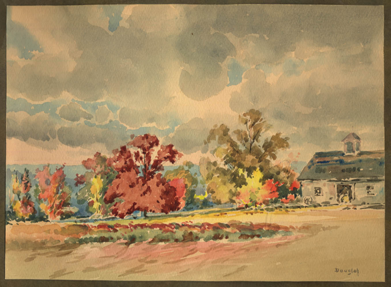 Arthur S Douglas original watercolor Barn in Early Fall #2 ca 1930s