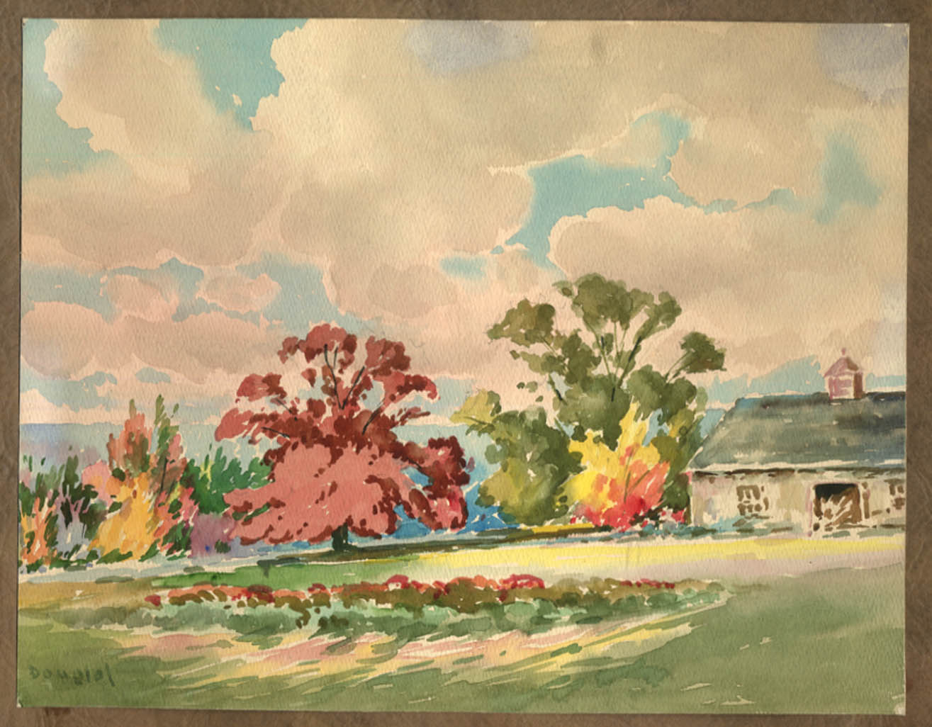 Arthur S Douglas original watercolor Farm across the meadow ca 1930s