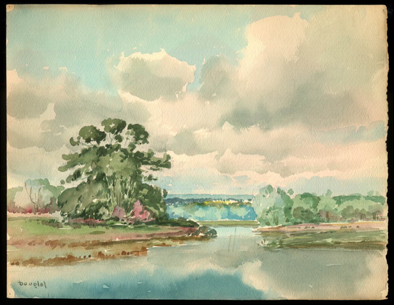 Arthur S Douglas original watercolor View along the Pawtuxet River ca 1930s