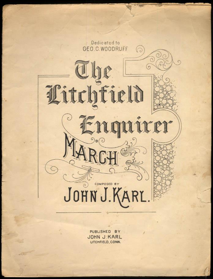 John J Karl: The Litchfield Enquirer March sheet music 1895 CT