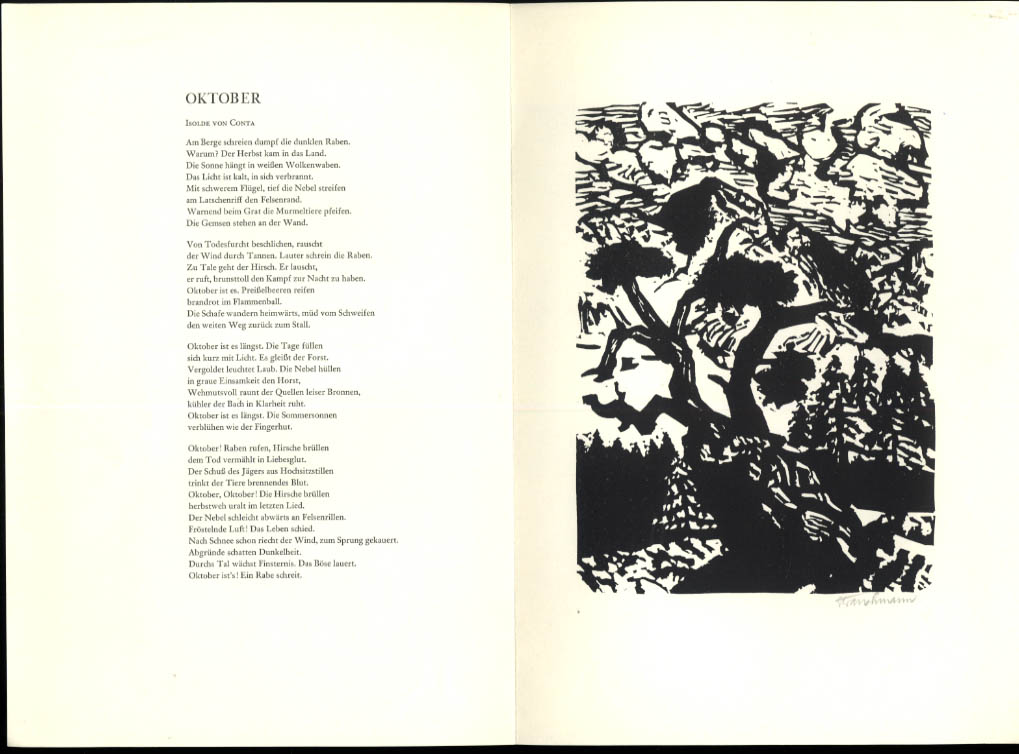 Image for Went Strauchmann SIGNED poetry broadside Isolde von Conta 1970 1/670