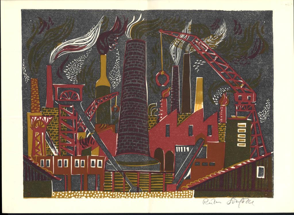 Ruth Schefold linoleum print SIGNED in pencil 1/670 made 1970