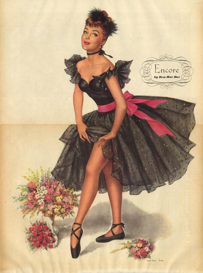 Ben-Hur Baz: Esquire pin-up 4 1948 Encore! black taffeta dress gams
