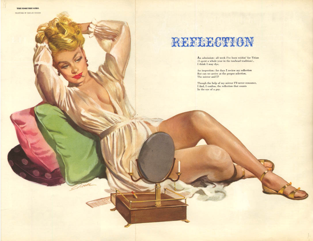 Euclid Shook: Esquire pin-up Reflection 4 1952 blonde white robe mirror