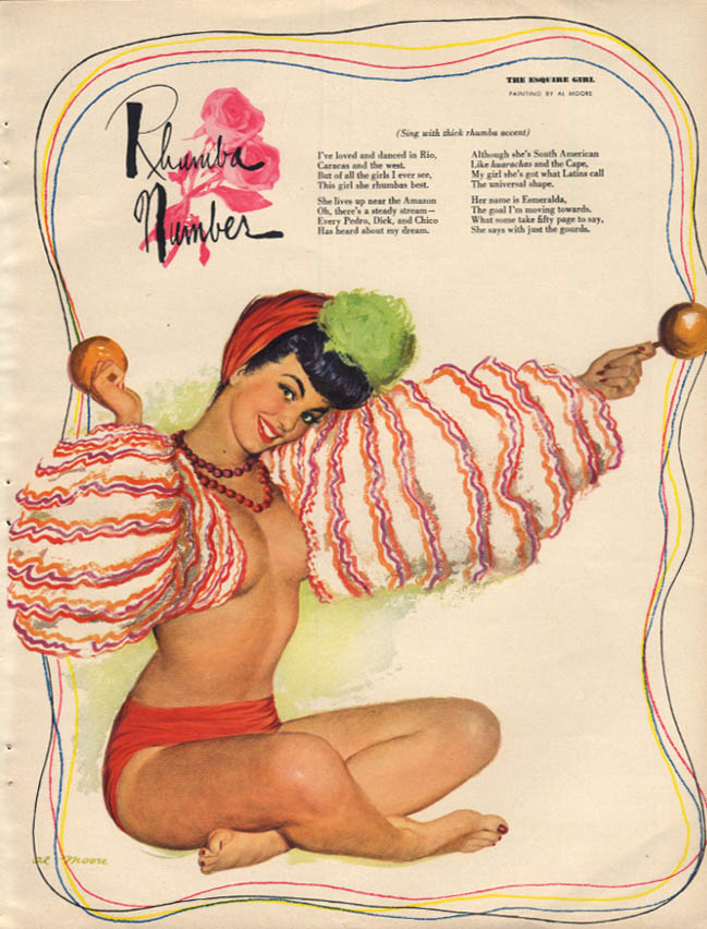 Al Moore: Esquire pin-up 2 1950 Rhumba Number castinets topless
