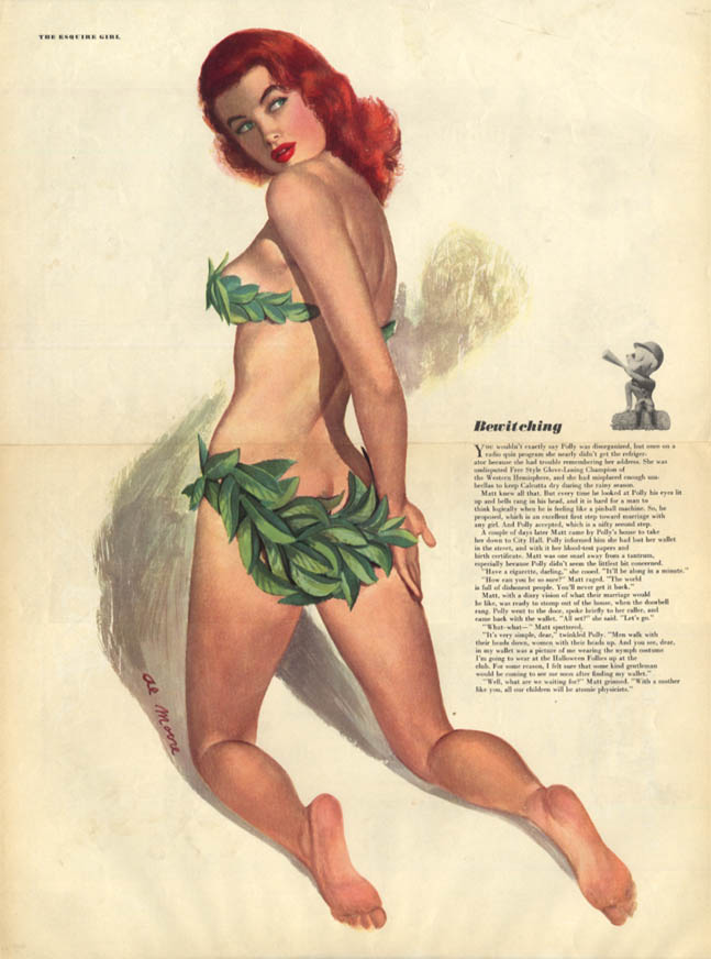 Al Moore: Esquire pin-up 10 1948 Bewitching redhead bikini made of leaves
