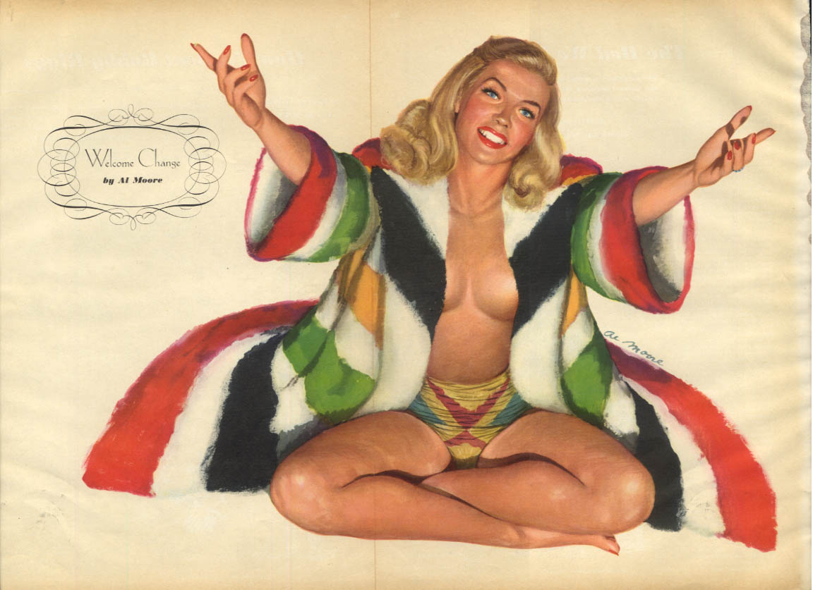 Al Moore: Esquire pin-up 2 1948 Welcome Change blonde topless under robe