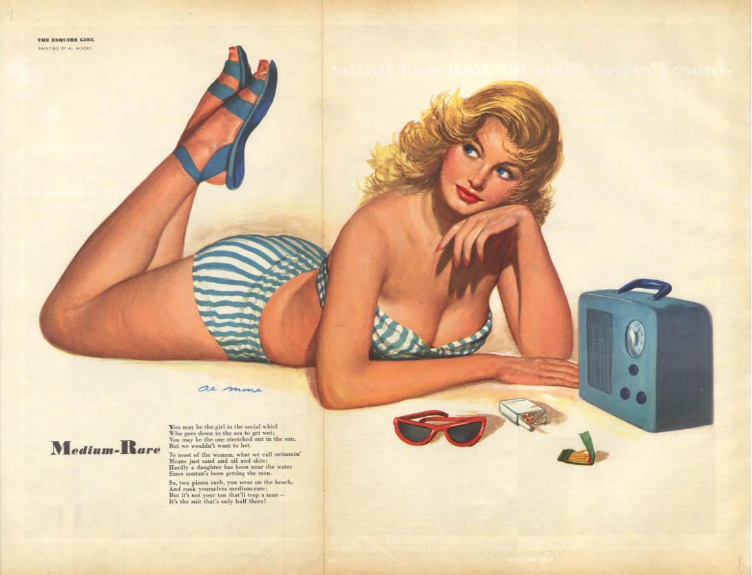 Al Moore: Esquire pin-up 6 1950 Medium-Rare blonde sunbathing & radio