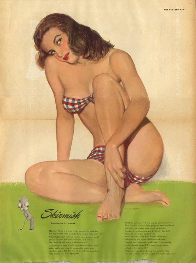 Al Moore: Esquire pin-up 2 1949 Skirmish brunette plaid bikini