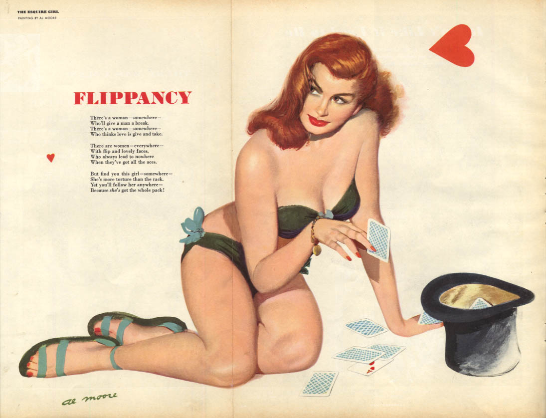 Al Moore: Esquire pin-up 7 1950 Flippancy redhead flips cards into top hat