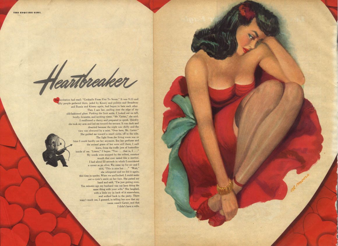 Al Moore: Esquire pin-up  2 1949 Heartbreaker brunette in red; stockings