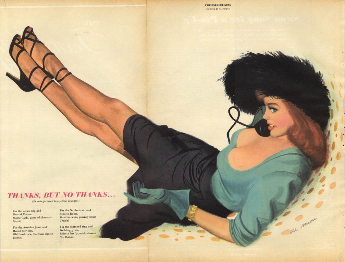 Al Moore: Esquire pin-up 11 1950 Thanks But No Thanks redhead on phone