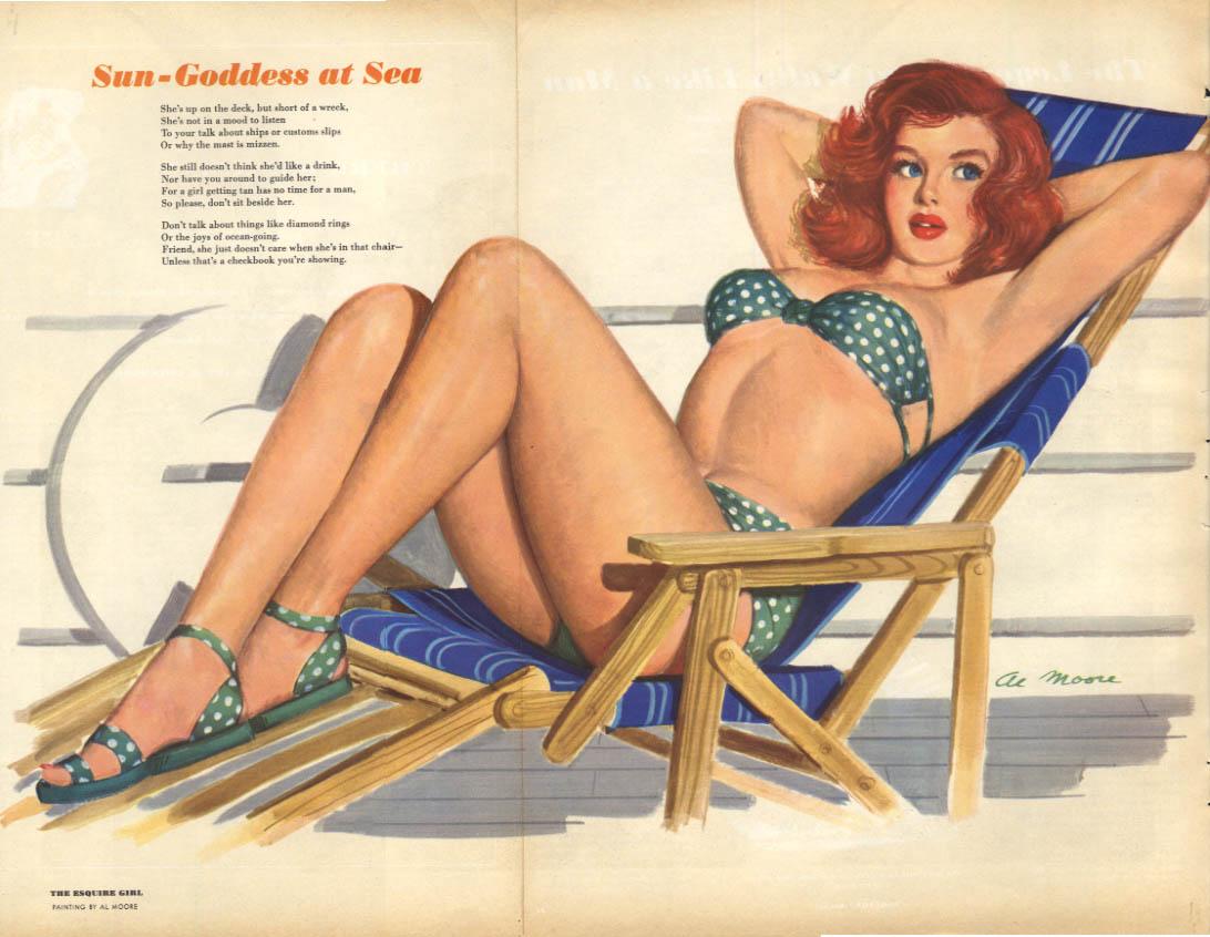 Al Moore: Esquire pin-up 8 1950 Sun-Goddess at Sea redhead bikini deck chair