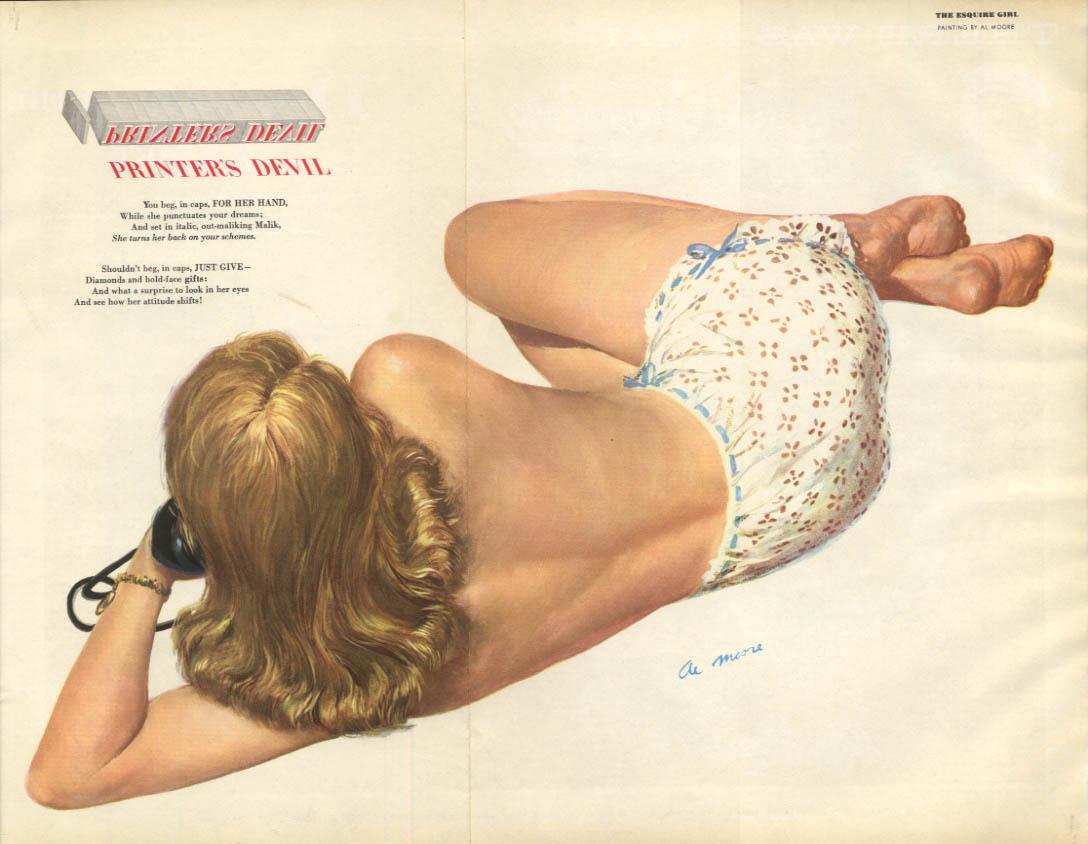 Al Moore: Esquire pin-up 4 1951 Printer's Devil blonde on phone, no bra