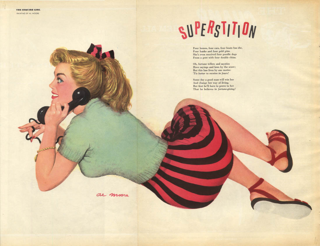Al Moore: Esquire pin-up 3 1951 Superstition blonde ponytail on phone