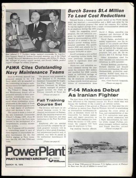 Pratt & Whitney POWERPLANT 3/19 1976 Iranian Grumman F-14; 1st apprentices