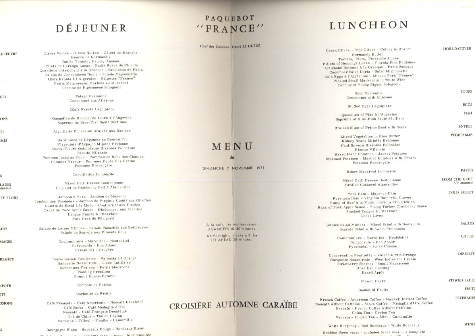 French Line S S France Caribbean Cruise Menu Luncheon 11/7 1971
