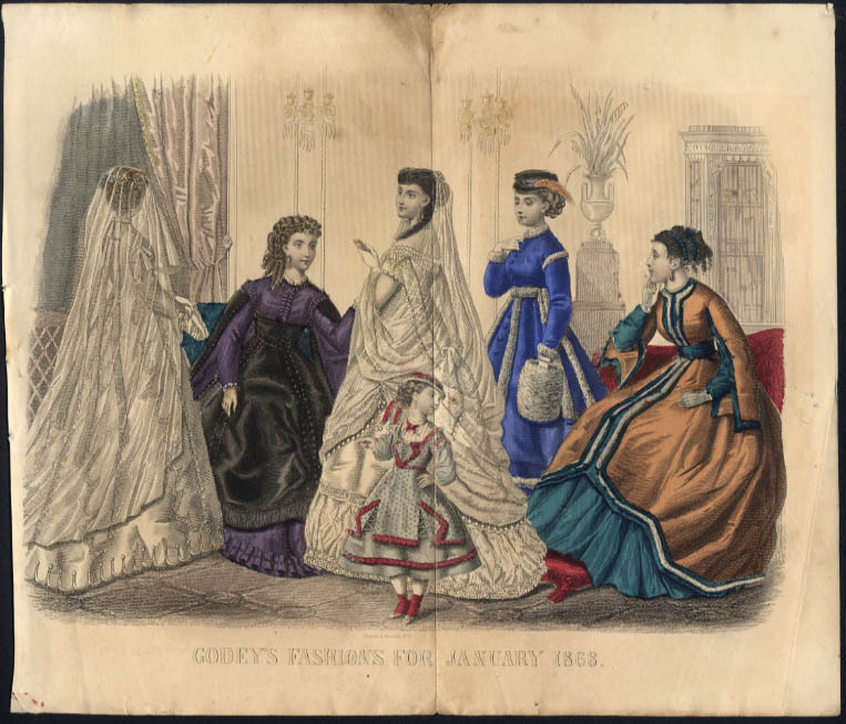 Godey's Magazine hand-colored plate Fashions for January 1868