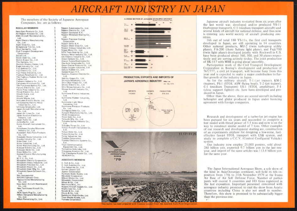 Japanese Aerospace Industry Show Aircraft Produced Since 1952 poster 1979