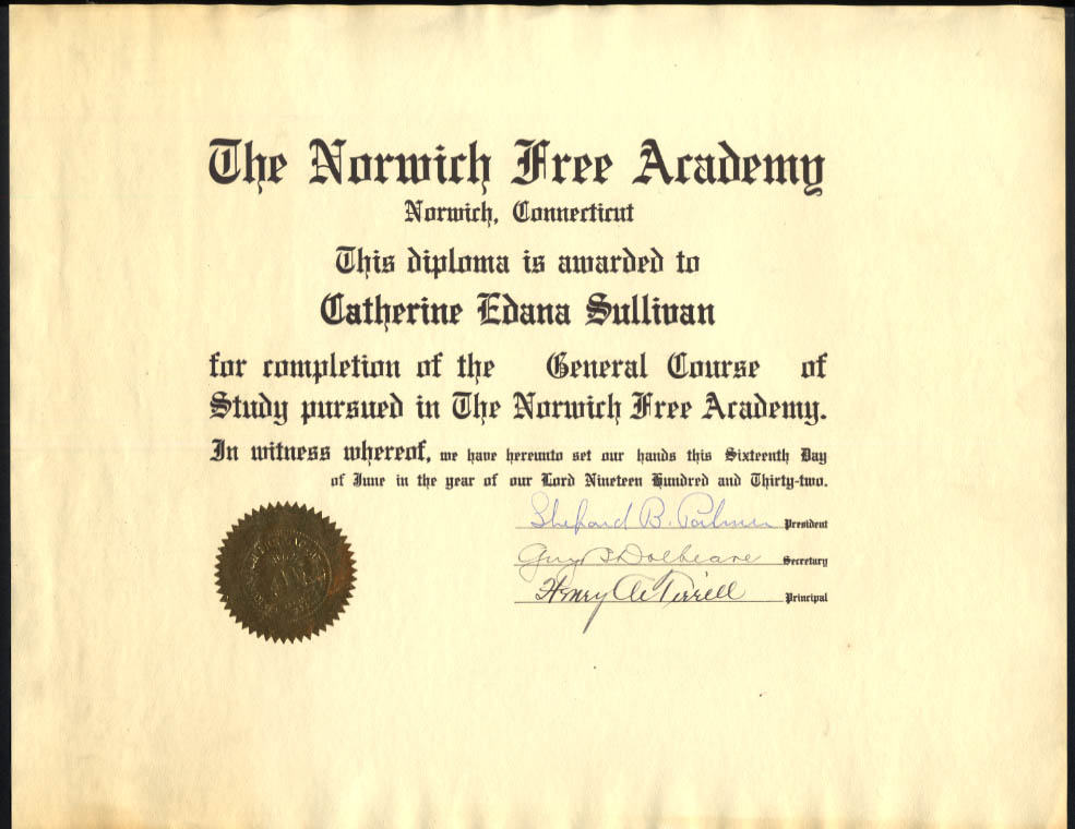 Norwich Free Academy General Course of Study Diploma 1932 CT