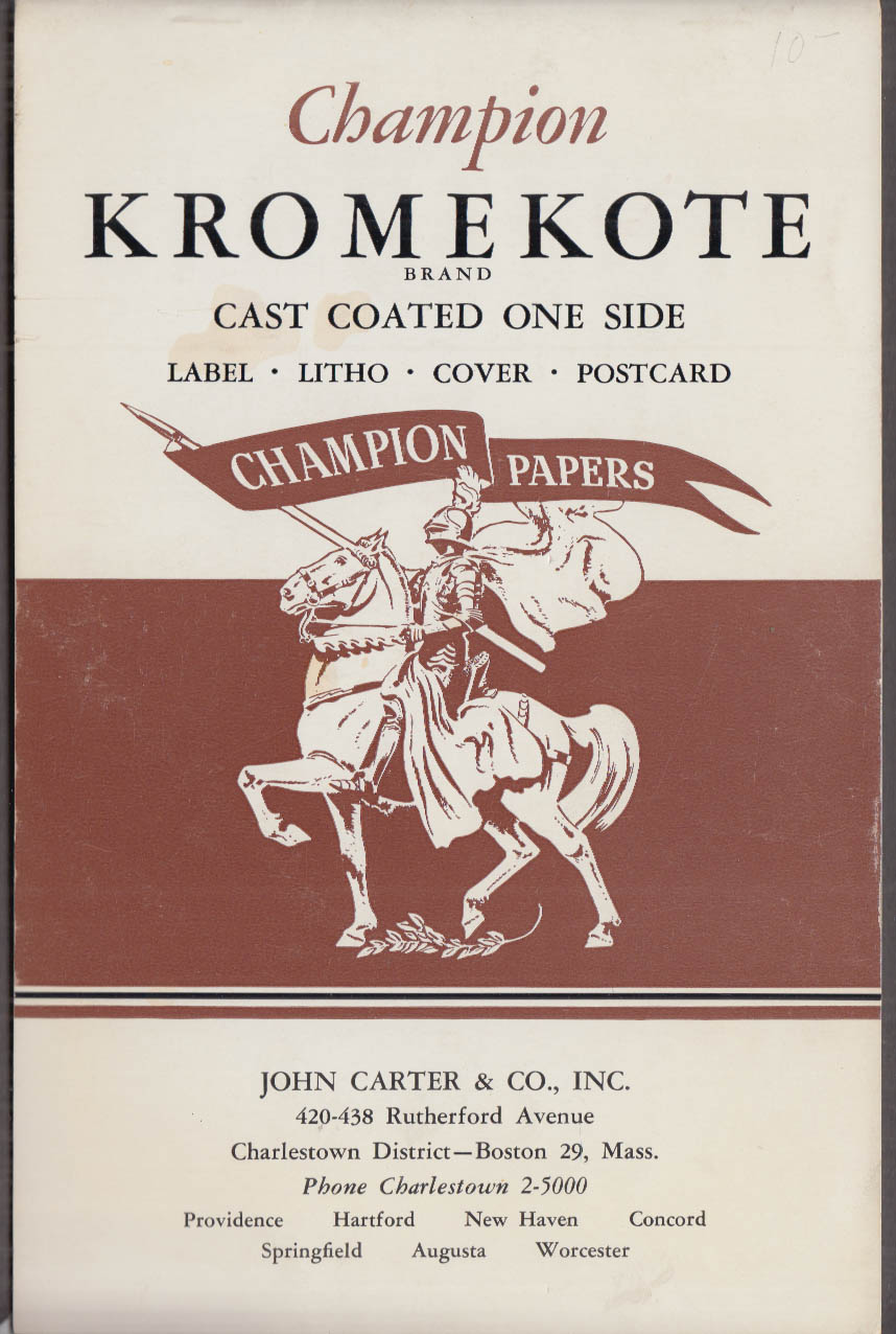Champion Kromekote paper sample booklet ca 1955 John Carter Distributor