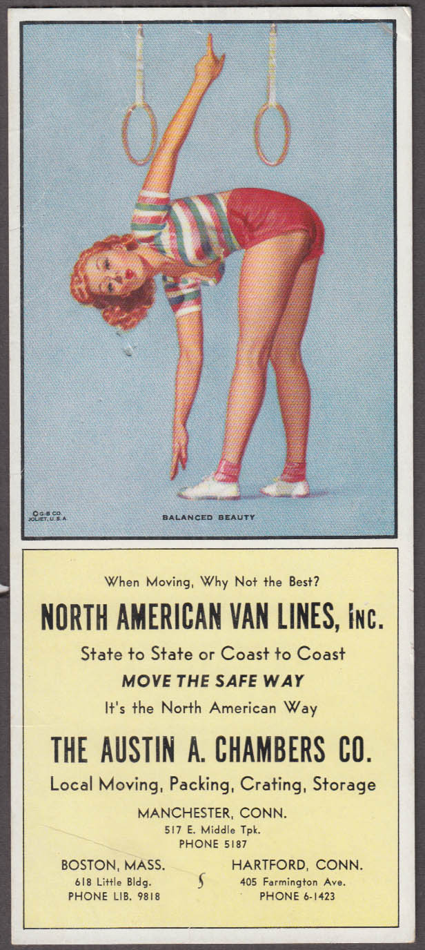 Balanced Beauty Pearl Frush pin-up blotter N American Van Lines Manchester CT