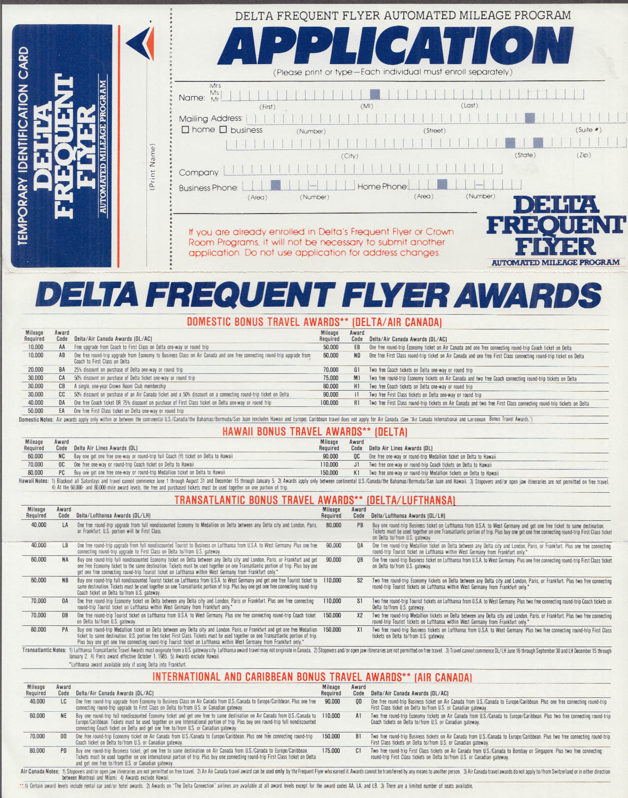 Delta Air Lines Fly Free Frequent Flyer Program Application airline mailer 1985