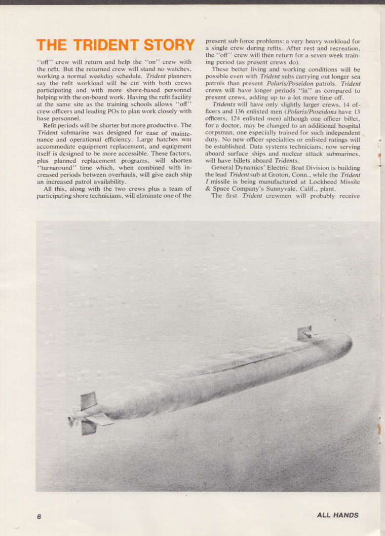 ALL HANDS 2 1975 US Navy Trident FBM Nuclear Submarine Story