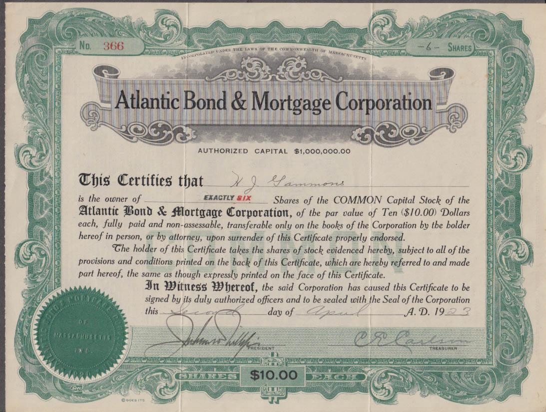 Atlantic Bond & Mortgage stock certificate 6 shares 1923 Massachusetts