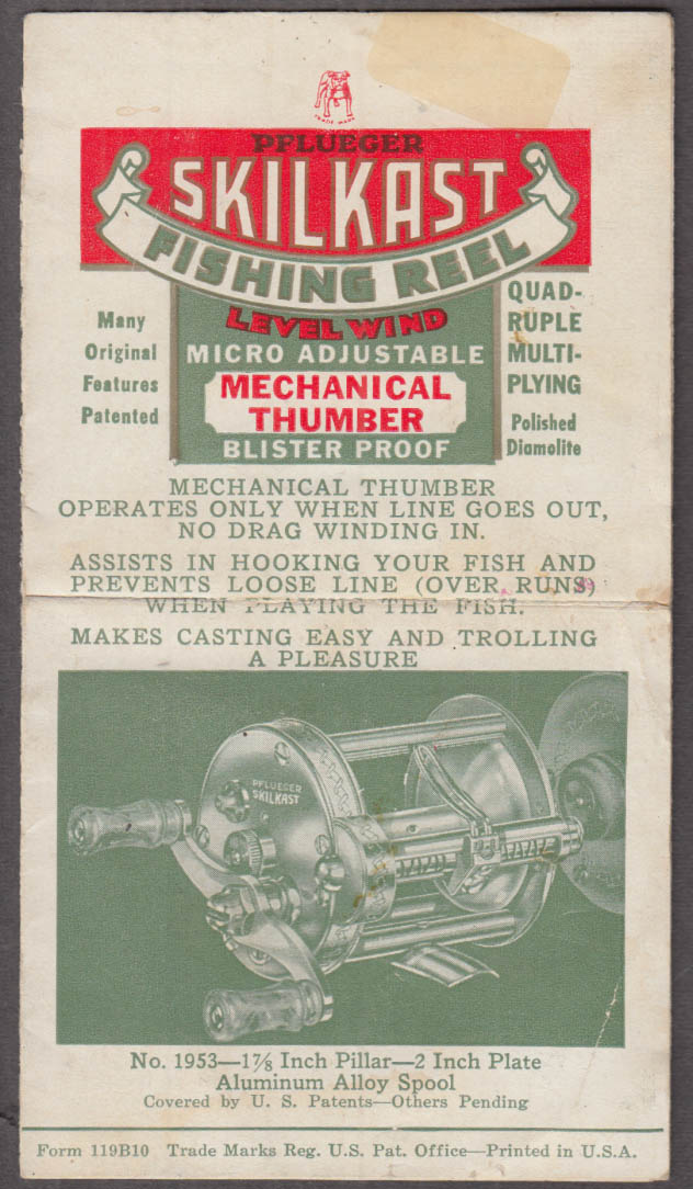 Pflueger Skilkast Fishing Reel instructions folder ca 1940s