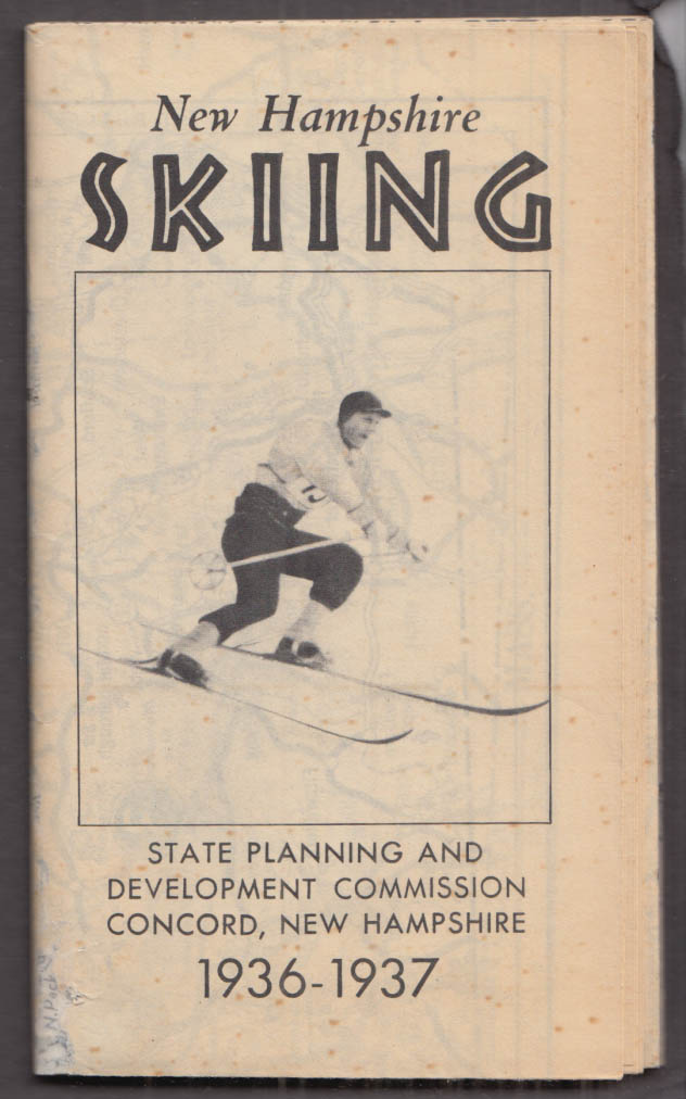 State of New Hampshire Planning & Development Skiing Map 1936-1937