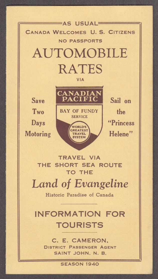Canadian Pacific S S Princess Helene Automobile Ferry Rates folder 1940