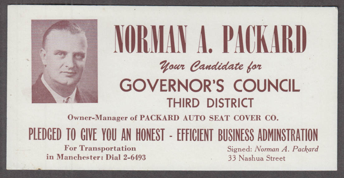 Norman A Packard Manchester NH Governor's Council blotter 1940s Auto Seat Cover